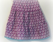 Girl's tiered skirt, Purple ruffled skirt,  Girl's Handmade Skirt,  Purple and Teal , Size 7, OOAK