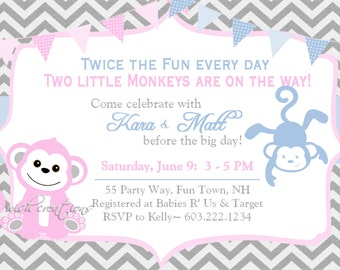 Monkey Baby Shower Invitation Girl Invitation Monkey Shower Invitations Printable Invitation Printable Baby Shower Invitations Monkey