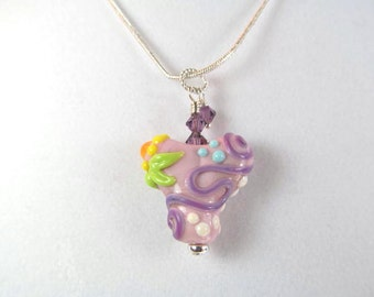 Necklace heart purple glass lampwork beads and crystals