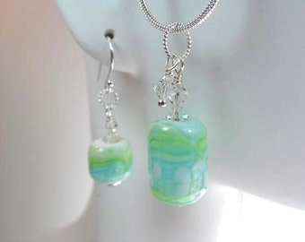 Necklace & earrings blue green glass art lampwork beads with crystals