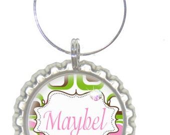 Set of 6 - PERSONALIZED WINE CHARMS - Mod Pink Green Designs  -Swavorski Crystals -  Bachelorette Party Favors, Wedding Favors