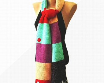 Free Shipping  Knitting cozy extra long scarf,  multicolored,  for winter, gift for her