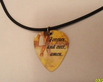 Forever and Ever Amen In Love Couple yellow guitar pick necklace jewelry, perfect for the Country southern farm Girl