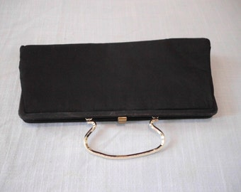 vgt. BLACK CLUTCH with Handle Silk lined made by Bobtie Jerome