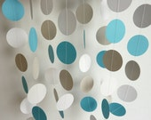 Blue, Gray & White Circle Paper Garland, Wedding, Birthday, Baby Shower, Nursery, 10 feet long