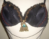 Clearing out! Ready to Ship Set-Beaded Dreams Fusion Belly Dance Bra and Matching Headpiece