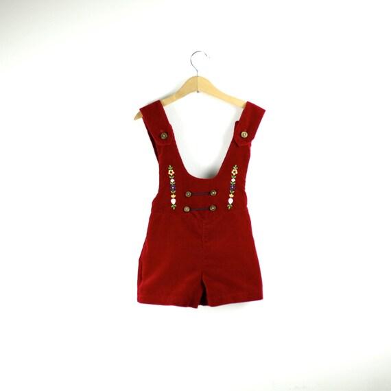 Vintage Shortall Lederhosen in Ruby Red Velvet  4T