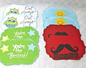 Handmade Lunchbox notes for boys, Lunch bag note set, version2