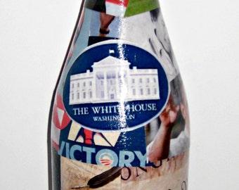 Original Obama ART Decoupage on Wine Bottle