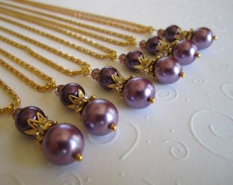 Purple Bridesmaid Necklace and Earring Set/Bridesmaid Jewelry/Purple Wedding Jewelry/Bridal Party.