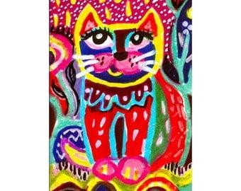 Whimsical Art, Cat Wall Art, Art For Kids, Funny Cat, Cat Print, Childrens Room Decor, Mexican Folk Art, Rainy Day Cat  by Paula DiLeo