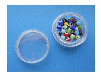 One Jar of Rare Tiny EVIL EYE BEADS 3.5 - 4 mm Hard to Find Size About 60 per Jar Beading Supplies
