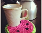 Set of two hand knitted extra thick watermelon pot holders or hot pads