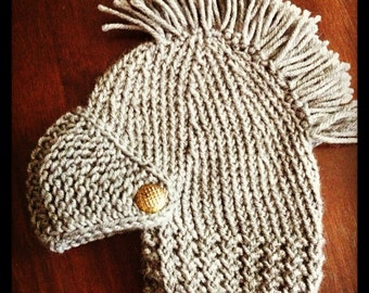 Hand knitted children's dress up knight in shining armor beanie hat with brass buttons