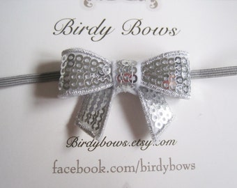 Silver Sequin Bow Headband, Baby Headbands, Infant Headbands, Girl Headbands, Baby Girl Headbands, Baby Bow
