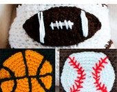 Instant Download Sports Ball Crochet Applique Pattern with Football, Baseball, and Basketball (PDF)