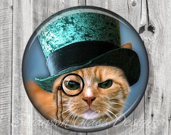 Steampunk Cat Pocket Mirror, Teal Blue Cat Photo Mirror, Compact Mirror Illustration Image, Gift under 5, Accessories, Party Favor A83