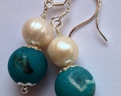 Teal green agate gemstone vintage style earrings with genuine pearls and 925 silver
