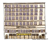 """Washington DC Drawing Print - the national theatre , USA ,illustration grey blue white wall art home decor - Size A4/ 8,27"""" x 11,7"""" UNFRAMED"""