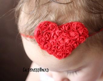 10% Off..Baby Headbands, Baby Girl Headband, Baby Bows Headband, Infant Headband, Red Head band, Heart Headband, Valentines Bow
