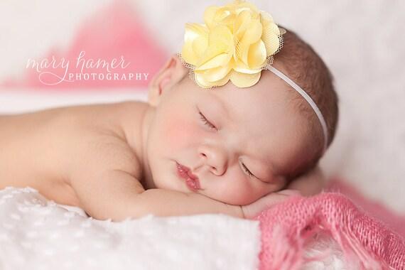 Baby Headbands, Newborn Headband, Baby Girl Headband, Baby Bow, Yellow Newborn Head band, Baby Hair Accessory, Girl, baby, yellow hairbow