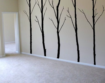 "Winter Trees Decal - Tree Wall Decal Wall Sticker - Tree Decals - Large: approx 96"" x 125"" ( whole composition) - W008"
