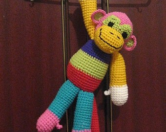 Brightly Coloured Crochet Patchwork Monkey