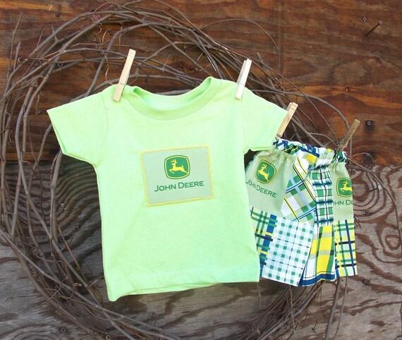 Baby Boys Clothes John Deere Green shorts and T shirt 6 9