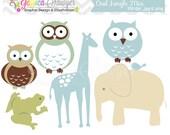 INSTANT DOWNLOAD,  hand drawn boy owl clip art, jungle clipart, digital element, blue jungle, animal image, commercial use