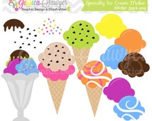 INSTANT DOWNLOAD,  ice cream clip art - desert clipart - commercial use - icecream invitation - ice cream maker - mix and match