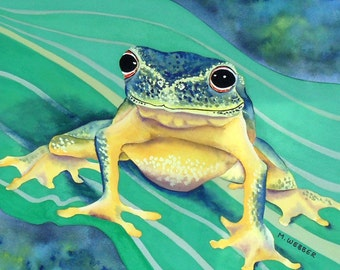 Tree Frog Green and Yellow Amphibian Watercolour and Gouache Painting