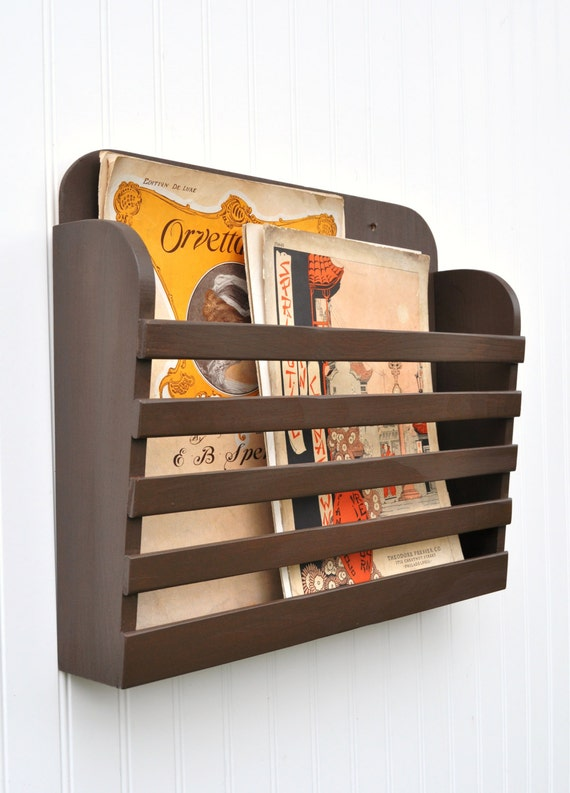Rustic Hanging Magazine File Holder Solid Chocolate Coffee