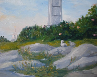 """Seagull Family, Star Island, Isles of Shoals, NH 5x7"""" oil painting on masonite panel"""