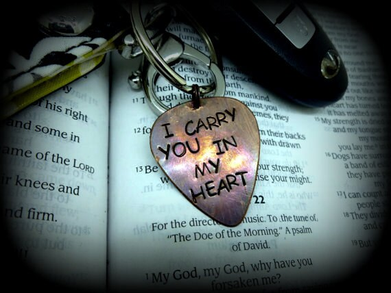 "Guitar Pick Keychain - Guitar Pick Keychain - Hand Stamped & Antiqued - Men - Women - Unisex - ""I carry you in my heart"""