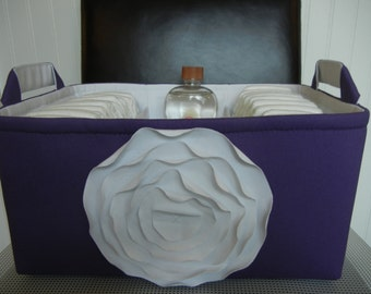"""Ex Large-Diaper Caddy(choose COLOR)14""""x 10""""x 7""""Two Dividers-Fabric Storage Organizer-Baby Gift-""""White Rose on Purple"""""""
