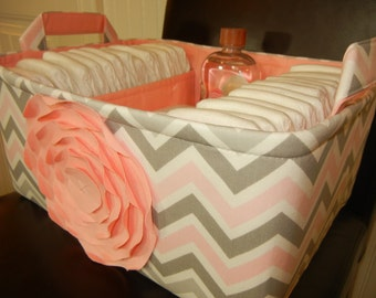 """Ex Large-Diaper Caddy-14""""x 10""""x 7""""(CHOOSE COLORS)Two Dividers-Fabric Storage Organizer-Baby Gift-Chevron-""""Pastel Pink Rose on Mix Zigzag"""""""
