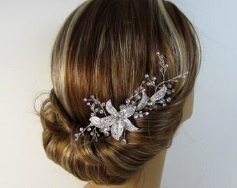Silver Hair Comb, Crystal Rhinestone Flower, Bridal Flower Hair Comb, Floral Bridal Hair Comb, Wedding Hair Accessories, Bridal Comb NATALIE
