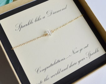 Graduation Gift...Herkimer Diamond and Gold Necklace