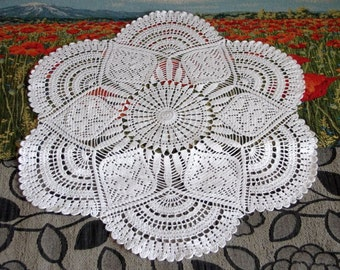Large crochet doily White handmade crochet doily Large lace doily Crocheted doilies Living room decor elements Crochet tablecloth 93