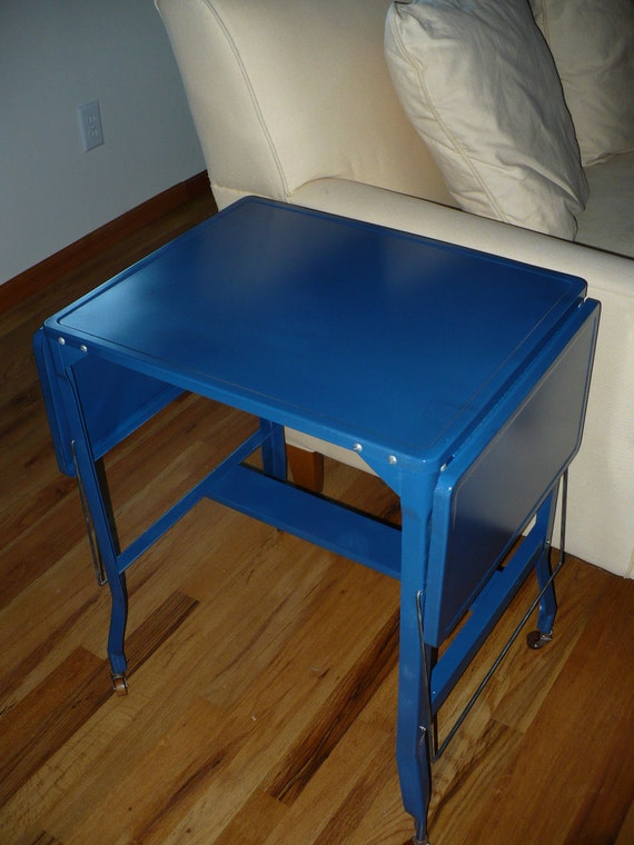 Vintage Metal Typing, Side or End Table Electric Blue