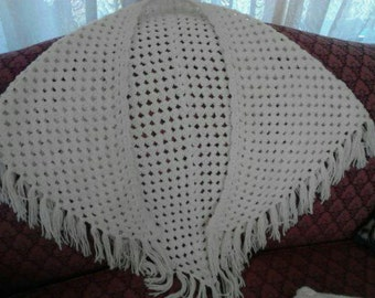 Hand-Crocheted White Triangle Shawl ECS