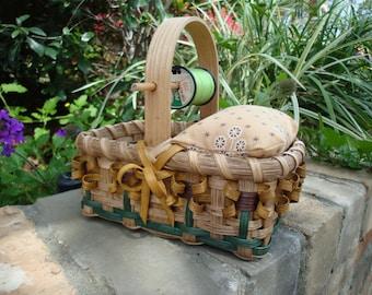 Sunflower Mending/Pincushion Basket Handwoven