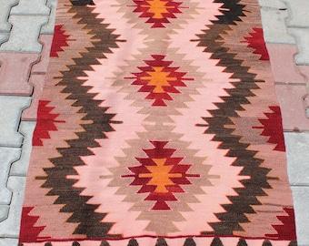 Buglem / Handwoven Vintage Turkish Antique Kilim Rug, %100 WOOL - Mut region ,40 years old - 35,6''x53,6'' inch -