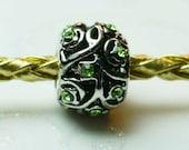 Peridot Crystal  Spacer Bead  For European Style Charm Bracelet - August Birthstone