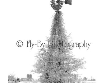Ice Windmill Fine Art Photograph  for Home or Office Decor