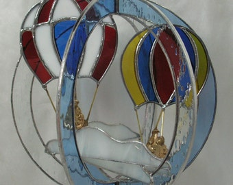 Hot Air Balloons in Stained Glass Suncatcher Whirl