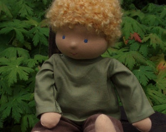 """Boy Waldorf Doll, 14"""" tall Blond ( made to order )"""