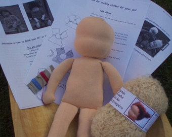 """Waldorf Doll  Blank 14"""" tall, various skin and hair colours"""