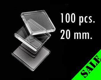 100 pcs. 20mm Clear Glass Square Tiles