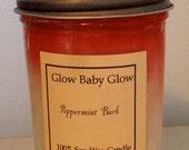 100% Pure Soy Wax Specialty Candle- Peppermint Bark - 8 oz. Mason Jar Size w/ Lid